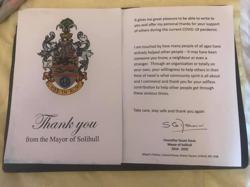 Thank you letter from the Mayor