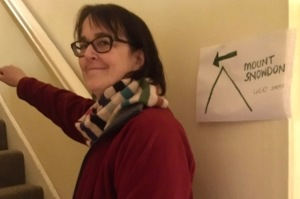Rosalyn Clare wearing a red top and stripey scarf climbing the stairs in her house next to a 'Mount Snowdon' sign.