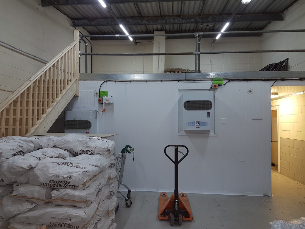 View of the newly installed walk-in freezer