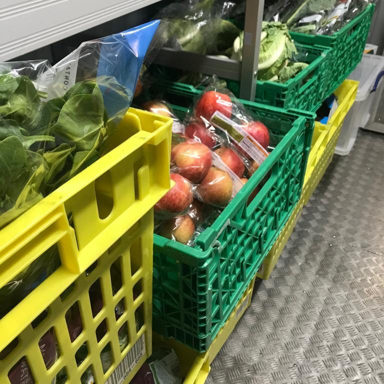 Colourful fruits and vegetables on a shelf in the new walk-in-fridge